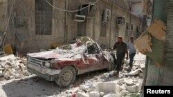 Контрольований повстанцями район Алеппо після повітряного удару