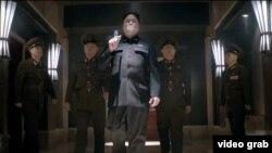 미국 영화사 '소니 픽처스'가 새로 공개한 영화 '인터뷰' 예고편 중 한 장면. 김정은 북한 국방위원회 제1위원장 암살 작전을 그린 코미디 영화다.