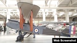 A wide view of a restored de Havilland DH.9 at the Historic Aircraft Collection in England.