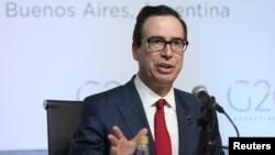 美国财政部长姆努钦在阿根廷布宜诺斯艾利斯召开的20国集团财长与央行行长峰会上召开新闻发布会。(2018年3月20日)
