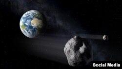 太空里的小行星。