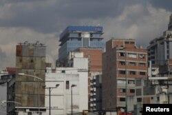 The logo of Citi is seen atop a building in Caracas, Venezuela, April 6, 2018.