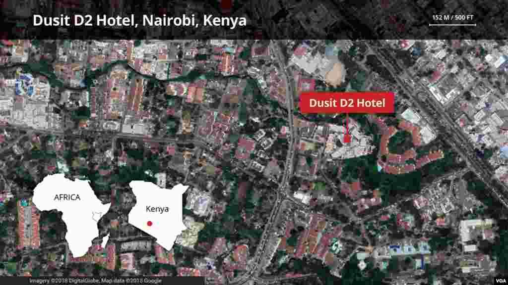 Ramani ya mahala hoteli ya Dusit, D2 inapatikana jijin Nairobi Kenya