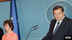 Catherine Ashton i Milorad Dodik na konferenciji za novinare