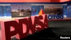 Logo perusahaan minyak milik negara PDVSA dan Citgo Petroleum Corp di Caracas, Venezuel, 30 April 2018.