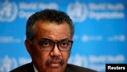 테드로스 아드하놈 게브레예수스 WHO 사무총장은 28일 스위스 제네바 WHO 본부에서 신종 코로나바이러스 확산 사태 관련 기자회견을 했다.