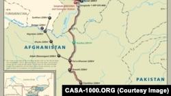 نقشه پروژۀ کاسا ١٠٠٠ (قسمت افغانستان)