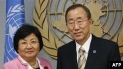 Роза Отунбаева и Генсек ООН Пан Ги Мун