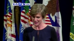 VOA60 America - Former acting US attorney general Sally Yates testifies before a Senate panel