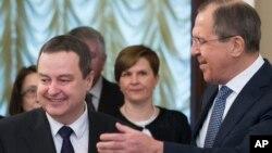Sprski i ruski šef diplomatije, Ivica Dačić i Sergej Lavrov, tokom susreta u Moskvi