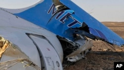 FILE - The tail of a Metrojet plane that crashed in Hassana, Egypt on Saturday, Oct. 31, 2015.