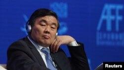中國國家開發銀行原黨委書記、董事長胡懷邦2018年1月15日在香港出席亞洲金融論壇。