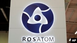 FILE - The logo of Russian state nuclear monopoly Rosatom is pictured at the World Nuclear Exhibition 2014 in Le Bourget, near Paris, Oct. 14, 2014.