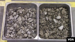 Researchers are testing two types of concrete aggregates - from pre-cast, unused slabs (left) and from demolished structures, with construction debris (right).
