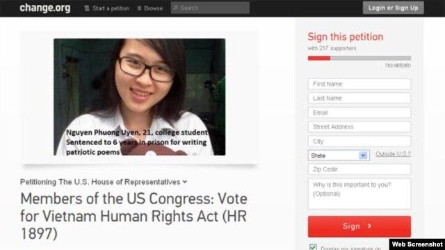Thỉnh nguyện thư trên trang mạng Change.org