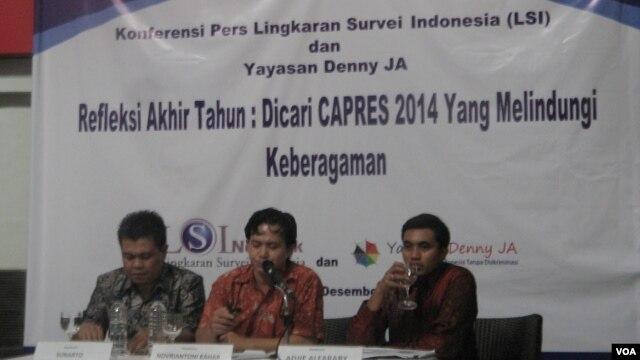 Lingkaran Survey Indonesia melaporkan hasil Survey mengenai harapan masyarakat mengenai sosok calon presiden Indonesia 2014 (VOA/Andylala).
