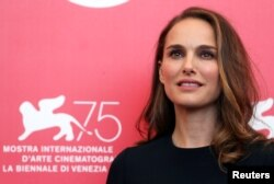 "FILE - Natalie Portman, star of the film ""Vox Lux,"" at the 75th Venice International Film Festival, Venice, Sept. 4, 2018."