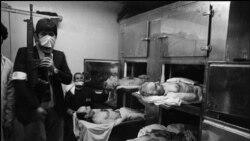 جنازه ۴ تن از سران حکومت پهلوی که در پشت بام مدرسه رفاه اعدام شدند: منوچهر خسروداد (بالاچپ)، مهدی رحیمی (بالا راست) ، رضا ناجی (پایین چپ) ، نعمت الله نصیری (پایین راست )