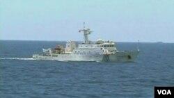 中国在和越南、菲律宾有争议的海域巡逻(视频截图)