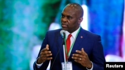 FILE - Tony Elumelu of Heir Holdings wants to give away millions to young entrepreneurs. He spoke in Abuja last April.
