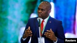 FILE: Tony Elumelu, chairman of the Transnational Corporation of Nigeria, speaks during the Presidential Power Reform Transactions signing ceremony in Abuja April 22, 2013. REUTERS/Afolabi Sotunde (NIGERIA - Tags: POLITICS ENERGY BUSINESS)