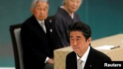 日本首相安倍晉三8月15日出席二戰投降記念日。