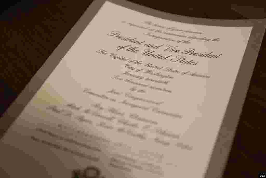 Close-up view of Silver Gate ticket to Donald Trump's inauguration as the 45th president of the United States, Jan. 20, 2017. (Photo: B. Allen / VOA)
