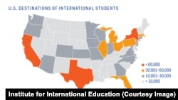 States with the most international students in the US.