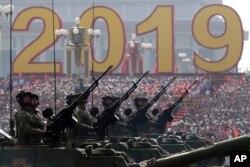 2019年10月1日中国国庆70周年阅兵仪式上的军用车辆。