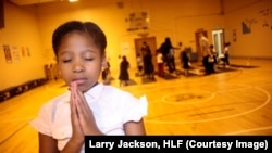 A student takes part in the Holistic Me After School Program in Baltimore, Maryland.