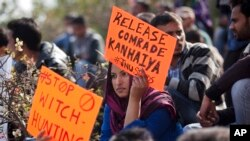 An Indian student holds a placard demanding the release of student leader Kanhaiya Kumar during a protest at the Jawaharlal Nehru University in New Delhi, India, Feb. 16, 2016.