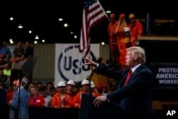 President Donald Trump speaks on trade at Granite City Works Steel Coil Warehouse, Granite City, Illinois, July 26, 2018.