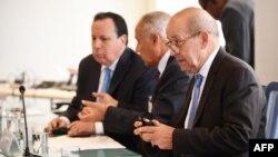 Le ministre français des Affaires étrangères, Jean-Yves Le Drian, à une réunion sur la Libye à la mission française aux Nations Unies en marge de l'Assemblée générale des Nations Unies à New York, le 24 septembre 2018.