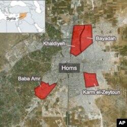 시리아 정부군의 홈즈 공격 거점