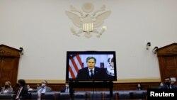 Menlu AS Antony Blinken saat menyampaikan keterangannya terkait penarikan pasukan AS dari Afghanistan dalam pertemuan virtual di hadapan Komite Urusan Luar Negeri DPR AS di Washington, 13 September 2021. (REUTERS/Jonathan Ernst)