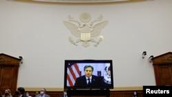 토니 블링컨 미 국무장관이 13일 하원 외교위원회에 화상 증언하고 있다.
