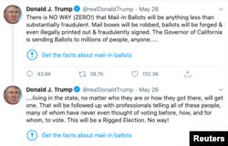 """Под двумя твитами президента появились ссылки, добавленные модераторами соцсети, с названием """"Узнайте факты о голосовании по почте"""""""