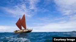 The Höküle'a is about to set sail on an around-the-world journey to spread a conservation message. (Courtesy: Polynesian Voyaging Society/Oiwi-TV)