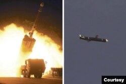 The Academy of National Defense Science conducts long-range cruise missile tests in North Korea, as pictured in this combination of undated photos supplied by North Korea's Korean Central News Agency (KCNA) on September 13, 2021.