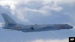 2020年9月18日飛近台灣防空識別區的中國解放軍轟-6戰機。(台灣國防部照片)