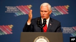 FILE - Vice President Mike Pence speaks during a conference on Prosperity and Security in Central America.