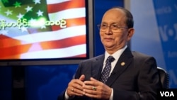 Burmese president Thein Sein took part in a town hall meeting at VOA in Washington, DC, May 19, 2013. (Alison Klein for VOA)