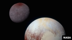 FILE - This composite of enhanced color images shows Pluto (lower right) and Charon (upper left), taken by NASA's New Horizons spacecraft as it passed through the Pluto system on July 14, 2015.