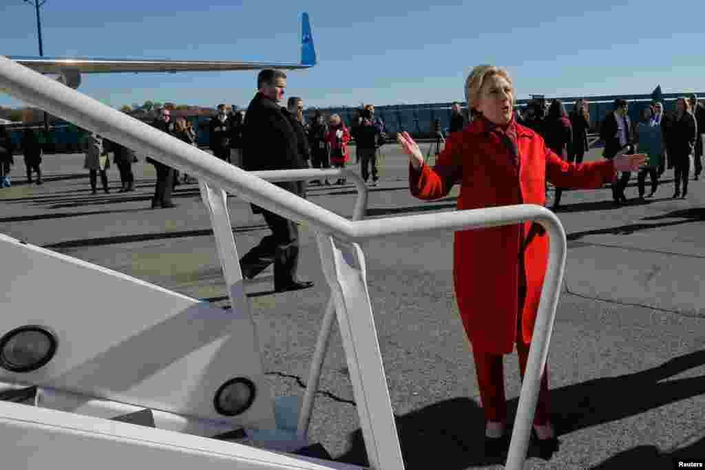 آخرین روز مبارزه برای کاندیدهای ریاست جمهوری آمریکا، هیلاری کلینتون، کاندید دموکرات، وارد هواپیمایش می شود و برای یکی از آخرین تجمعهای تبلیغاتی این انتخابات به ایالت نیو یورک میرود.