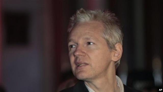 WikiLeaks founder Julian Assange after his release on bail, 16 Dec 2010