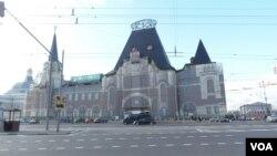 西伯利亞大鐵路起點,莫斯科亞羅斯拉夫火車站。(美國之音白樺攝)