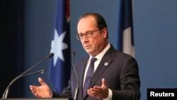 法國總統奧朗德星期三在訪問澳大利亞
