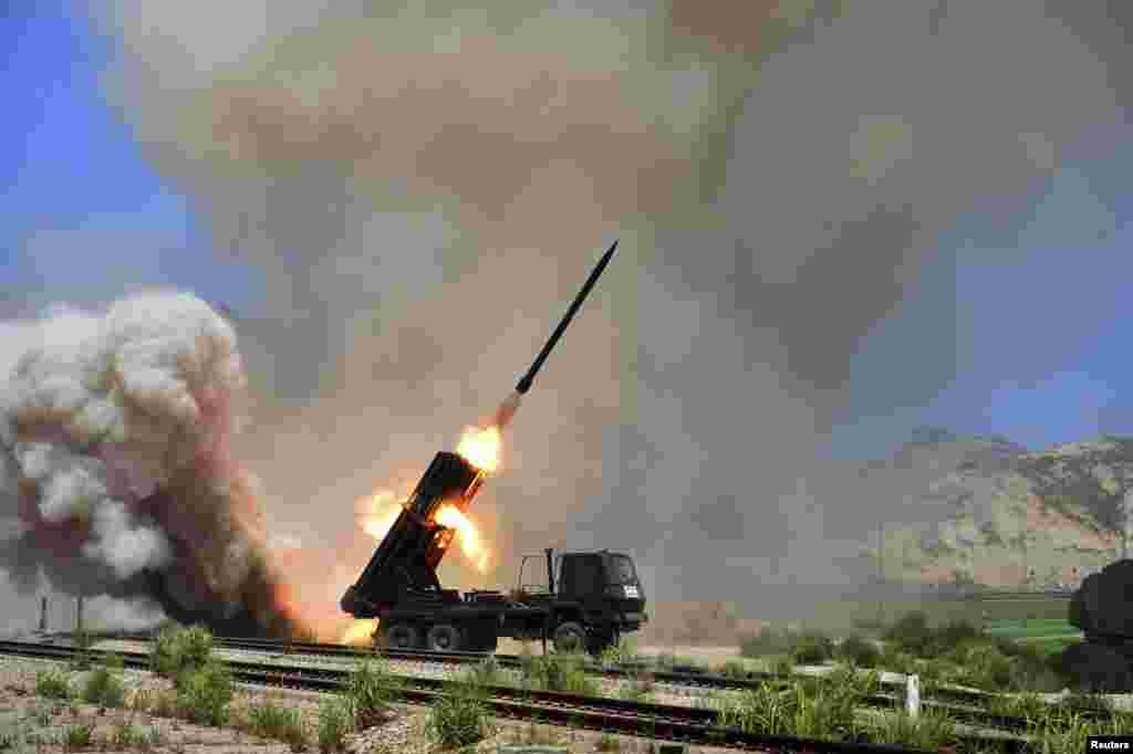 A view of a multiple rocket launcher during an exercise in this undated photo released by North Korea's Korean Central News Agency (KCNA) in Pyongyang.
