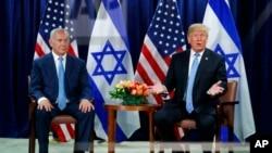 Le président Donald Trump lors d'une réunion avec le Premier ministre israélien Benjamin pendant l'Assemblée générale des Nations Unies, le mercredi 26 septembre 2018.