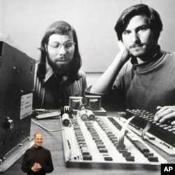 "According to ""The Innovator's Cookbook,"" creative minds need collaboration as in the case of Apple CEO Steve Jobs, standing in front of a photo of himself, right, and company co-founder Steve Wozniak, left, on Jan. 27, 2010."